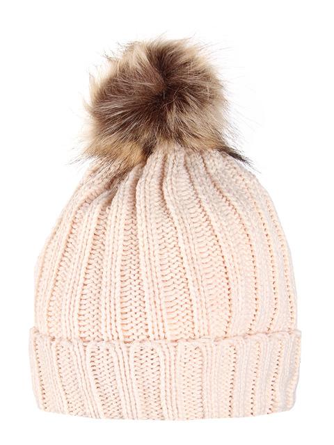 HT1803-3 шапка женская, бежевая