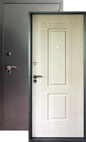Дверь входная Форт  Б-7, 2 замка, 1,8 мм  металл, (серебро антик+беленый дуб)