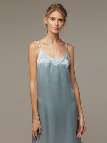 Light blue female dress made of 100% silk - фото 4