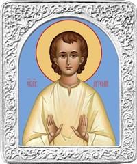 Святой Артемий. Маленькая икона в серебряной раме.