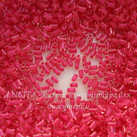 38698 Бисер Preciosa стеклярус #1 блестящий с розовым центром