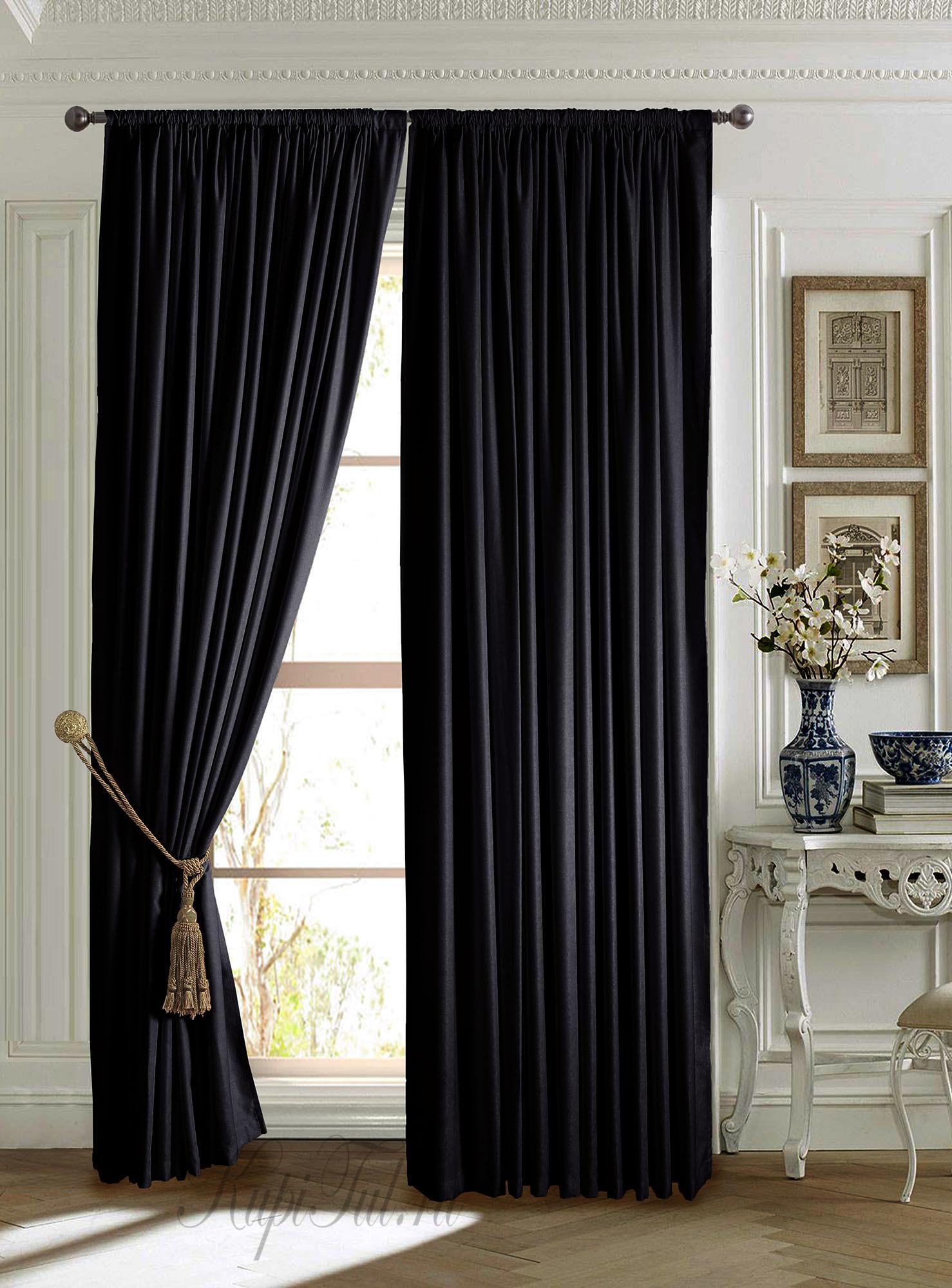 Mild (чёрный). Готовые шторы.