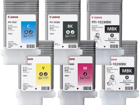 Комплект картриджей Canon PFI-102 (PFI-102: MBKx2,BK,C,Y,M) 6шт х 130мл