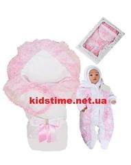 Зимний комплект на выписку из роддома Beautiful Lux бело-розовый