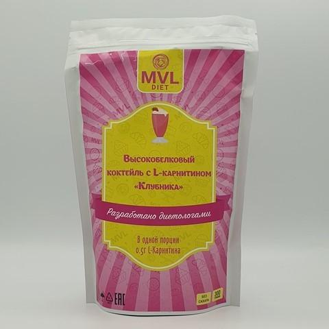 Смесь для высокобелкового коктейля с L-карнитином клубника MVL, 300 гр