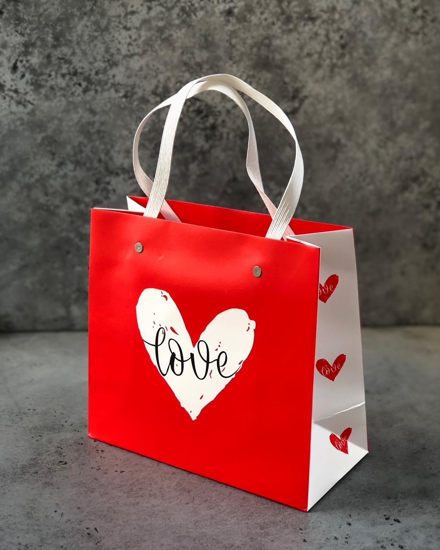 Пакет красный «LOVE», 22х10х20 см
