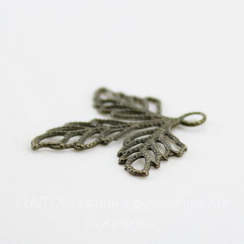 "Подвеска ""Три листика"" филигрань (цвет - античная бронза) 27х23 мм"
