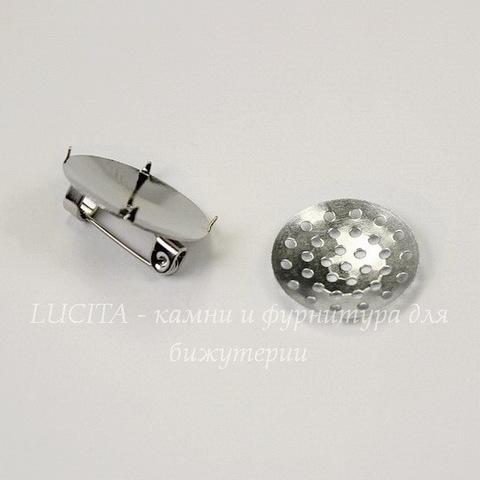 Основа для броши с диском 18 мм (цвет - платина)