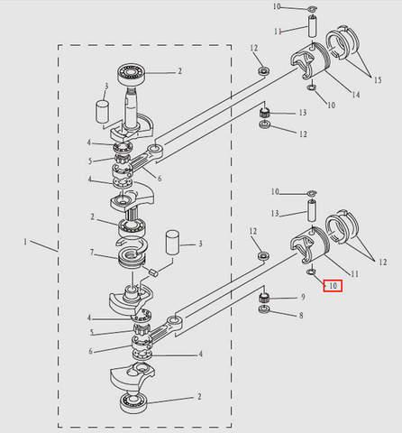 Стопорное кольцо пальца для лодочного мотора T9.8 Sea-PRO (3-10)