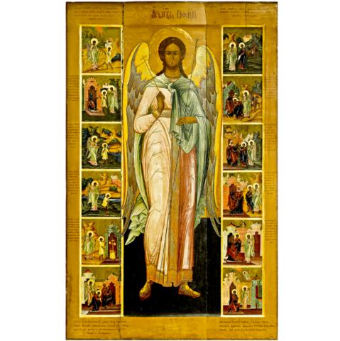 Икона святой Архангел Рафаил с клеймами на дереве на левкасе  мастерская Иконный Дом