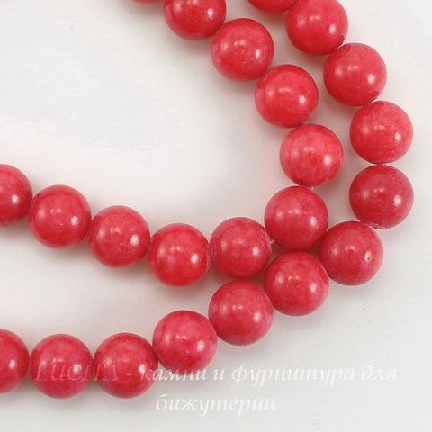 Бусина Жадеит (тониров), шарик, цвет - красновато-розовый, 8 мм, нить