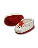 Вязаные туфли летние - Красный. Одежда для кукол, пупсов и мягких игрушек.