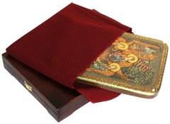 Инкрустированная икона Троица 29х21см на натуральном дереве в подарочной коробке