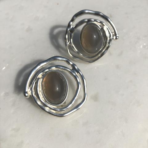 Серьги Сента, серебряный цвет