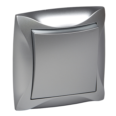Выключатель одноклавишный  (схема 1) 10 АХ 250 В. Цвет Серебристый. Schneider Electric(Шнайдер электрик). Duet(Дует). WDE000312