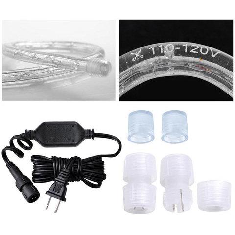 Вилка для подключения дюралайт шланга без мигания LED сетевая переходник ПВХ