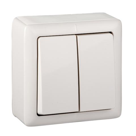 Выключатель одноклавишный с подсветкой и пластиковой пластиной 6 А 250 В. Цвет Белый. Schneider Electric(Шнайдер электрик). Hit(Хит). VA56-232I-B