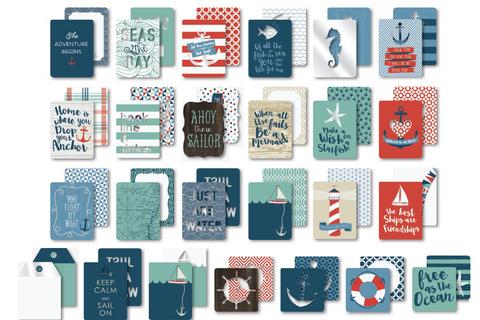 """Журнальные карточки для Project Life из коллекции BY THE SEA от My Mind""""s Eye 24шт"""