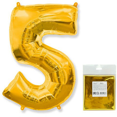 Цифра, 5, Золото, F 40''/102 см, 1 шт. в упаковке