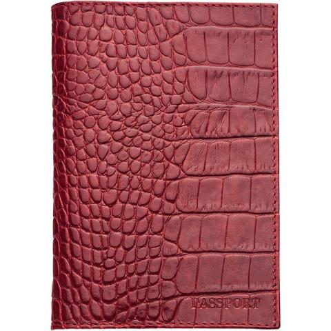 Обложка для паспорта FABULA Croco Nile натуральная кожа красная