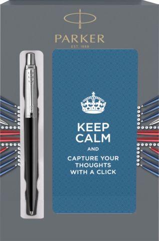 Подарочный набор с блокнотом и шариковой ручкой Parker Jotter Essential, Satin Black CT