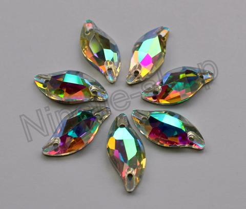 Diamond leaf Crystal AB Sew-on VC