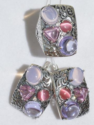 Индира (кольцо + серьги из серебра)
