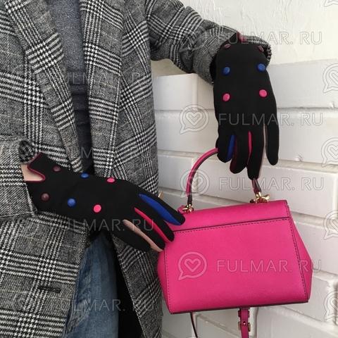 Женские перчатки с кнопками Черные