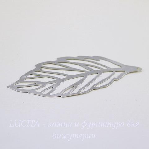 "Подвеска ""Лист"" (цвет - платина) 67х29 мм"