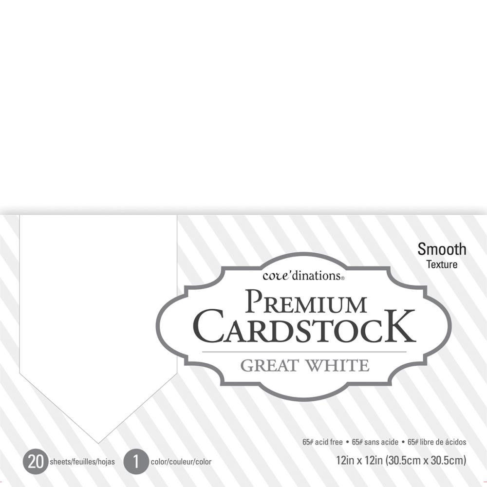 Набор кардстока 30х30 см. Core'dinations Value Pack Smooth Cardstock   - Great White