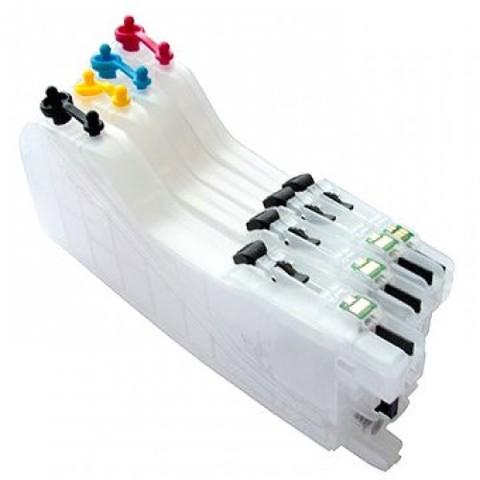Заправляемые картриджи Brother LC663, LC665, LC667, LC669. Комплект 4 штуки с авточипами. Увеличенный объём - Long