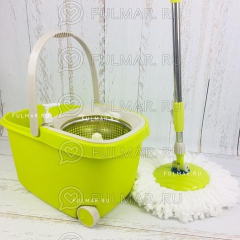 Швабра и ведро с отжимом на 2 колесиках с ручкой Spin Mop Wheels Mini