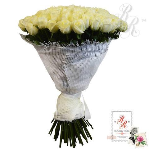 Букет 101 белая роза (Эквадор)