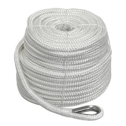 Трос якорный плетеный Ø10 мм/ 45 м с коушем, белый