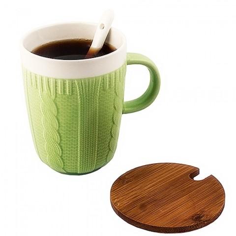 Кружка в свитере с деревянной крышкой и керамической ложкой