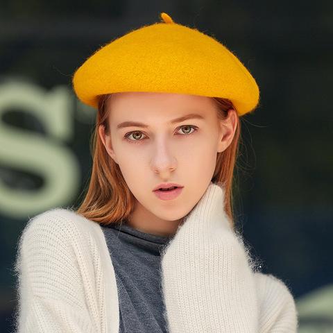 Берет шерстяной желтый