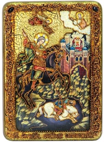 Инкрустированная икона Чудо Димитрия Солунского о царе Калояне 29х21см на натуральном дереве в подарочной коробке