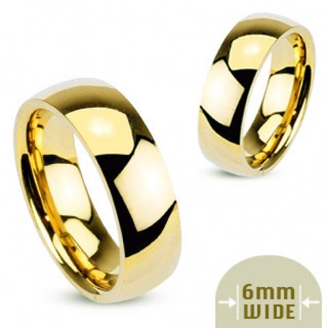 Кольцо обручальное позолоченное классическое для мужчин и женщин из ювелирной стали SPIKES R002-6