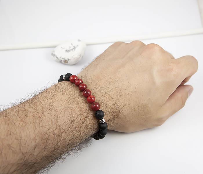BS821 Необычный браслет ручной работы из коралла и шунгита фото 07