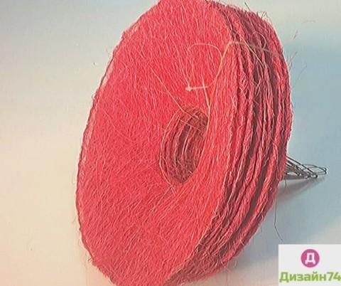 Каркас сизаль круглый (d=25 см.) Красный цвет 1шт.
