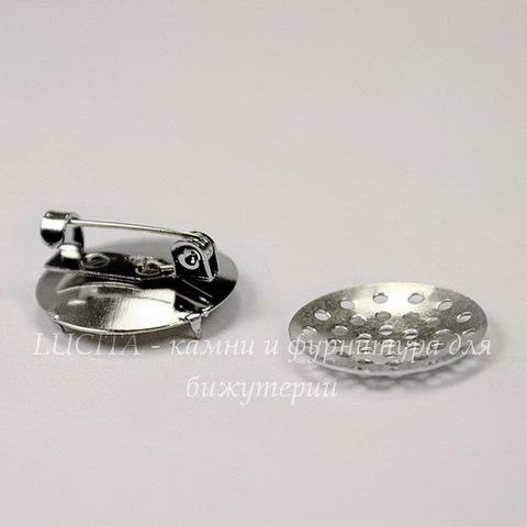 Основа для броши (из 2х частей) с ситом 18 мм (цвет - платина)
