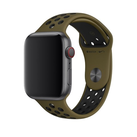 Ремешок Apple watch 42/44mm Sport Nike /olive black/ темная-оливка черный