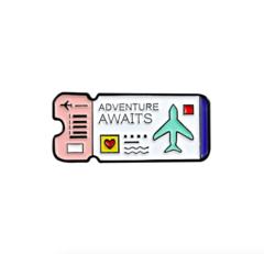 Пин «Билет на самолёт» (белый)