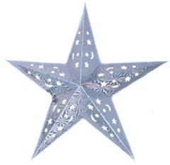 Звезда бумажная голографическая серебряная (30см)