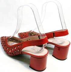 Красивые женские босоножки на устойчивом каблуке G.U.E.R.O G067-TN Red