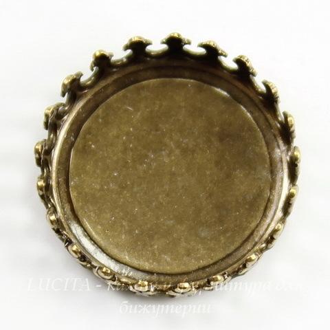 Сеттинг - основа с зубчатым краем для камеи или кабошона 16 мм (оксид латуни)