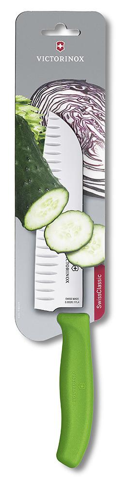 """Нож Victorinox """"Santoku"""", лезвие 17 см рифленое, зеленый, в картонном блистере"""