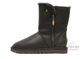 UGG  SHORT ZIP METALLIC CHOCOLATE