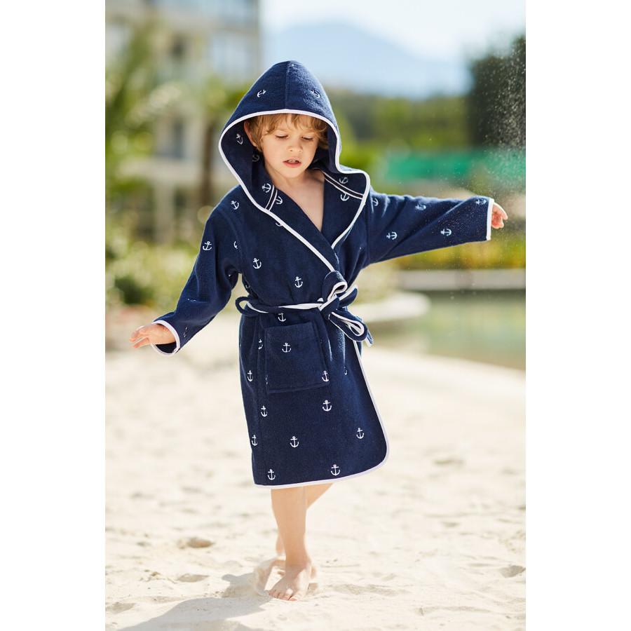Халаты Халат детский махровый MARINE МАРИНЕ синий Soft Cotton Турция Марине_син.jpg