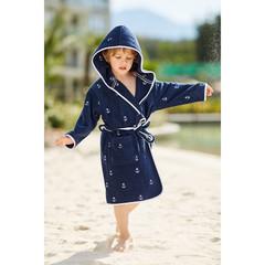 Халат детский махровый MARINE МАРИНЕ синий Soft Cotton Турция
